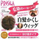 ウィッグ 分け目タイプ プリシラ 白髪かくし 急なお出かけの前にのせるだけで白髪をカバー 送料無料