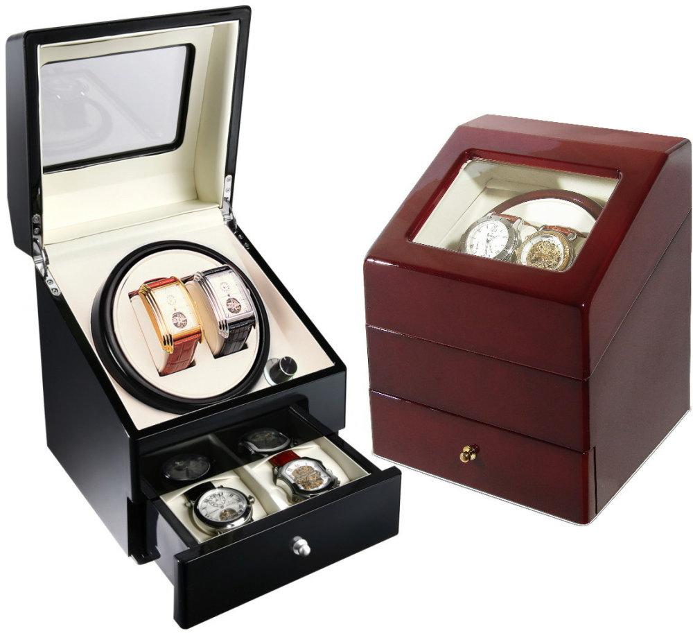 ワインディングマシーン 2本巻 マブチモーター 腕時計収納ケース付 ウッド調仕上 KA073 自動巻きの腕時計に 自動巻き上げ機 ウォッチワインダー 【あす楽】送料無料