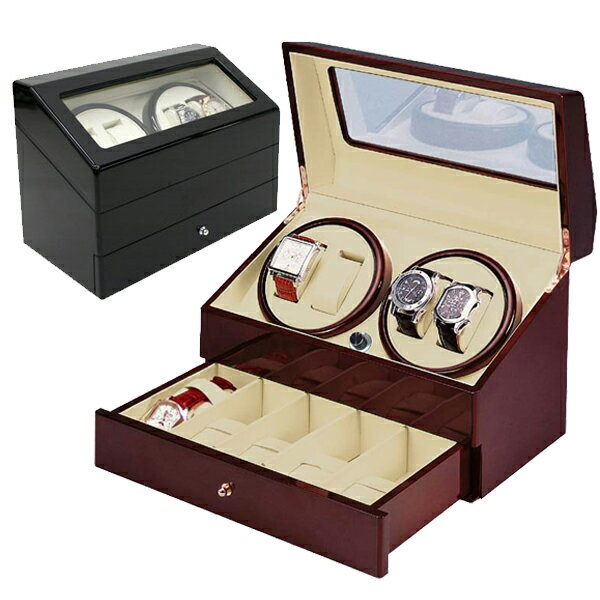 ワインディングマシーン 4本巻 ウッド調仕上 ウォッチワインダー KA074 自動巻きの腕時計に 時計ケース付 時計巻上【あす楽】送料無料