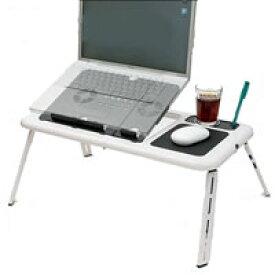 折りたたみ ノートパソコンテーブル スタンド 冷却ファン搭載 マウスパッド ドリンクホルダー付 角度調整 送料無料