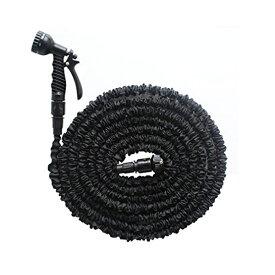 伸縮ホース スーパーホースブラック 5mが15mに 伸縮率3倍 耐久性UP ノズル&コネクター付き 伸びるホース 洗車やガーデニングに 送料無料