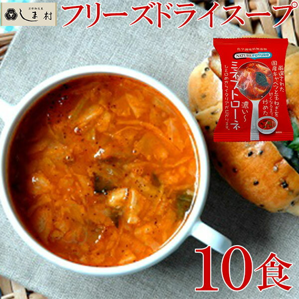 Nature Future ミネストローネ 10食 フリーズドライ スープ メール便対応 送料無料 仕送り 一人暮らし ご飯のお供 非常食 保存食