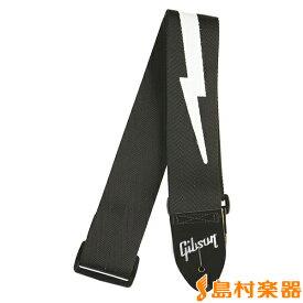 "Gibson ASGSBL-10 ギター・ベース用 ストラップ Lightning Bolt Style 2"" Safety Strap Jet Black 【ギブソン】"