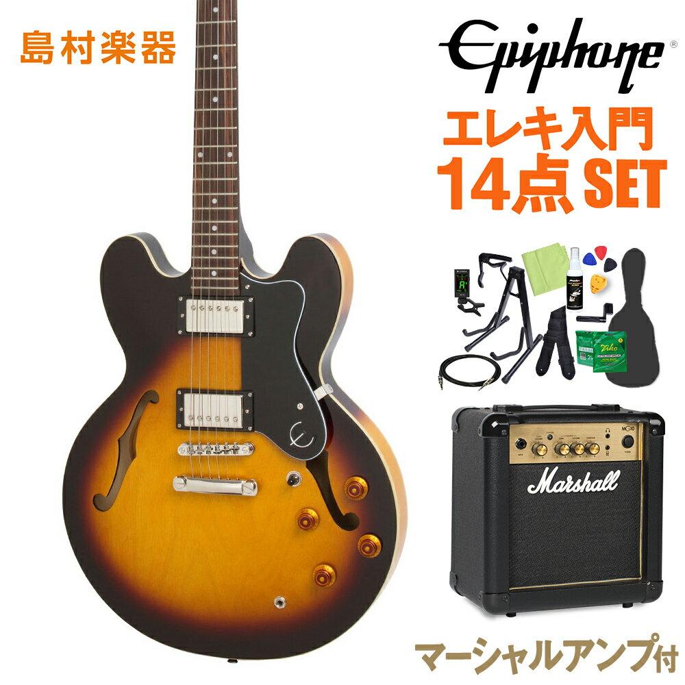 Epiphone Dot Vintage Sunburst エレキギター 初心者14点セット【マーシャルアンプ付き】 ドット セミアコ 【エピフォン】【オンラインストア限定】