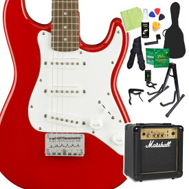 Squier by Fender Mini Strat Laurel Fingerboard Torino Red エレキギター 初心者14点セット 【マーシャルアンプ付き】 ストラトキャスター ミニギター 【スクワイヤー / スクワイア】【オンラインストア限定】