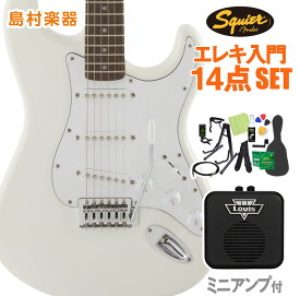 Squier by Fender FSR Affinity Series Stratocaster Olympic White 初心者14点セット 【ミニアンプ付】 エレキギター ストラトキャスター 【スクワイヤー / スクワイア】