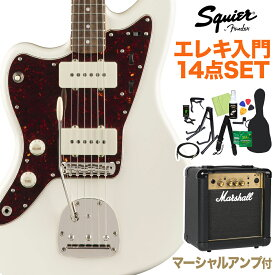 Squier by Fender Classic Vibe '60s Jazzmaster Left-Handed, Olympic White 初心者14点セット 【マーシャルアンプ付】 エレキギター レフトハンド 【スクワイヤー / スクワイア】