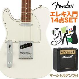Fender Player Telecaster Left-Handed Pau Ferro Fingerboard Polar White 初心者14点セット 【マーシャルアンプ付き】 テレキャスター レフトハンド 【フェンダー】