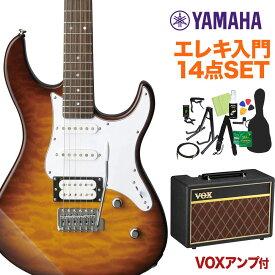 YAMAHA PACIFICA212VQM TBS エレキギター初心者14点セット 【VOXアンプ付き】 タバコブラウンサンバースト 【ヤマハ パシフィカ】
