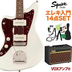 Squier by Fender Classic Vibe '60s Jazzmaster Left-Handed Olympic White 初心者14点セット 【VOXアンプ付】 エレキギター ジャズマスター レフトハンド