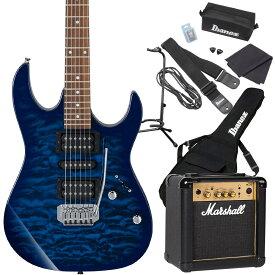 Gio Ibanez GRX70QA TBB (Transparent Blue Burst) エレキギター 初心者セット マーシャルアンプ付き 【ジオ アイバニーズ】