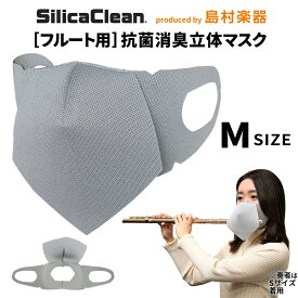 シリカクリン フルート用 抗菌消臭立体マスク Mサイズ グレー 1枚 【 SCFM-M/G フルート用マスク】