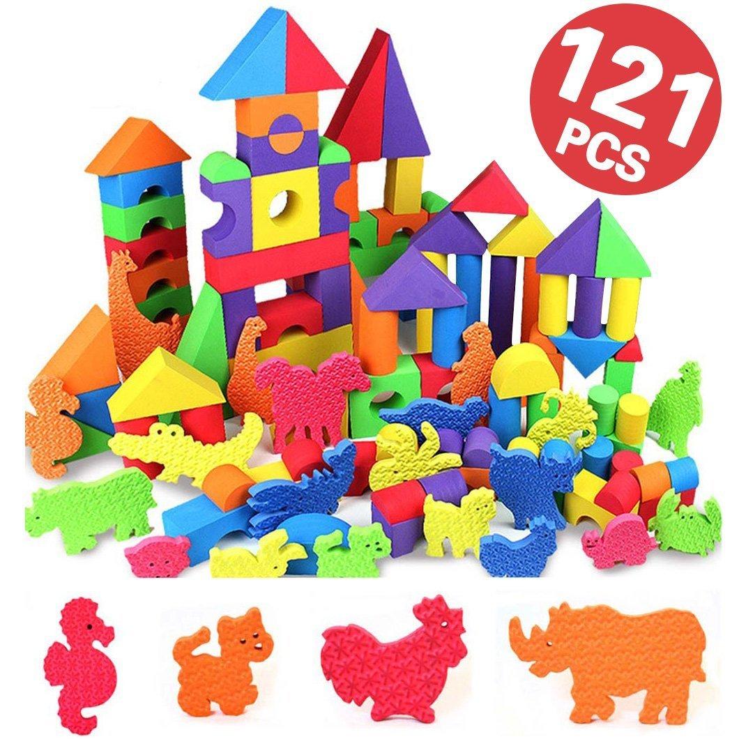 ソフトブロック ソフトつみき 動物セット カラフル 121ピース入り 収納袋付き 積み木 つみき EVA素材 軽い 柔らかい ブロック おもちゃ DIY カラフル ソフト 知育玩具 想像力 発想力 子供プレゼント 出産祝い