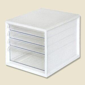 レターケース A4 4段 白 フエル販売 A4E-04W 1個
