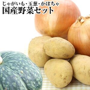 国産野菜セット約5K詰【じゃがいも2K&玉葱2K&かぼちゃ大玉1個】⇒送料無料