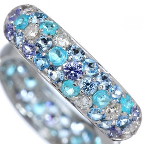 Fleurs De Saison(フルールドセゾン) le ciel bleu (ル シェル ブルー) K18 マルチカラーリング(指輪) パライバトルマリン サンタマリアアクワマリン サファイア ダイヤ