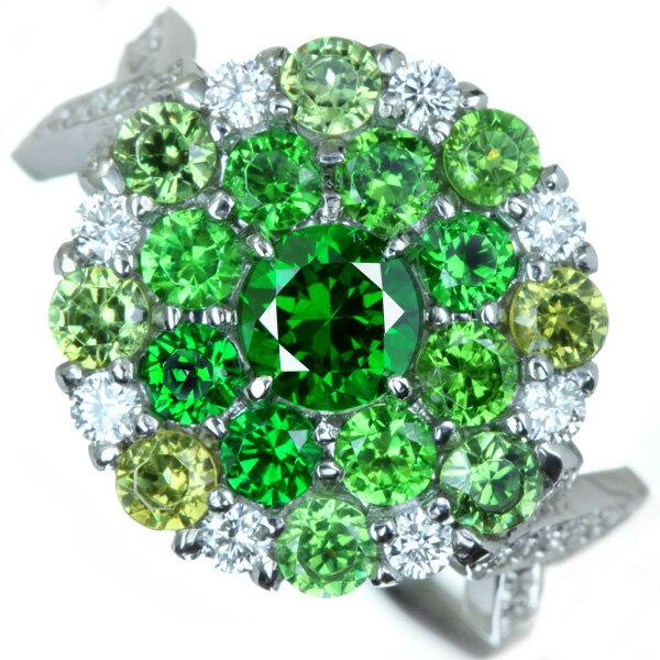 デマントイドガーネット 0.611ct/Total 1.60ct/ダイヤモンド 0.543ct リング PT900【送料無料】
