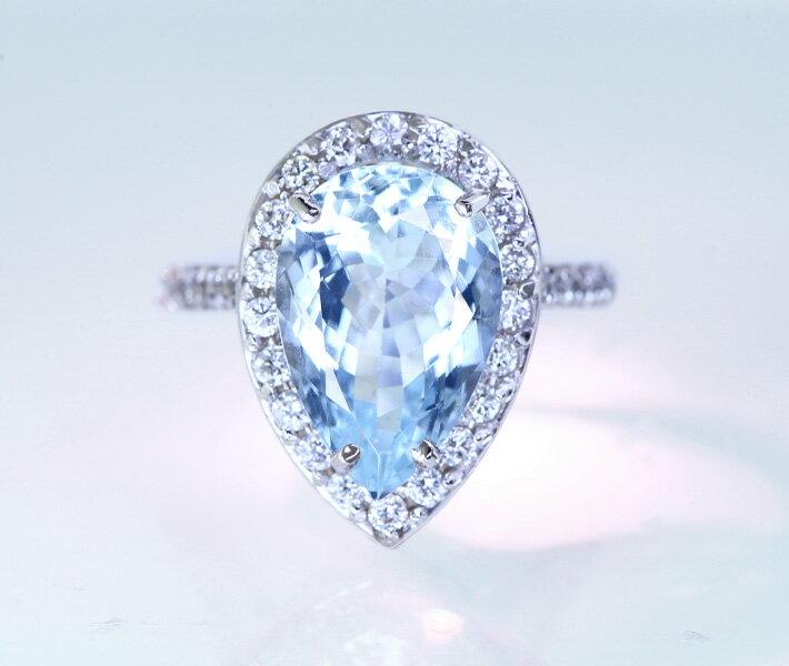 【大粒】K14WG アクアマリン 5ct ダイヤモンド 0.7ct リング