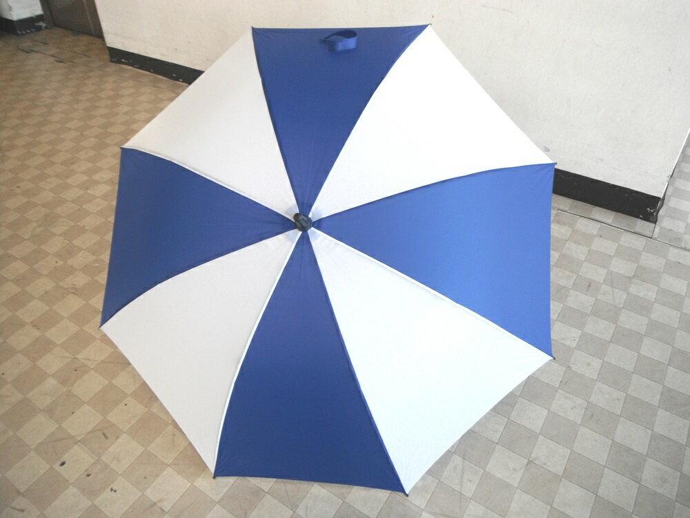【新品】【即納】【送料無料】晴雨兼用ゴルフ用傘手開き式アンブレラ青/白65cm【同梱不可】