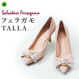 フェラガモ パンプス TALLA Salvatore Ferragamo 靴 レディース ブランド 正規品 リボン ポインテッドトゥ ハイヒール ブラック 黒 ピンク 赤 レッド 小さいサイズ 22cm 大きいサイズ 25cm 26cm