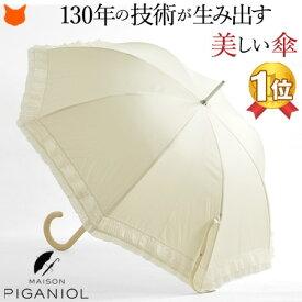 長傘 フリル レース 雨傘 日傘 レディース 晴雨兼用 傘 UVカット 大判 大きい おしゃれ 可愛い ホワイト 白 ベージュ 無地