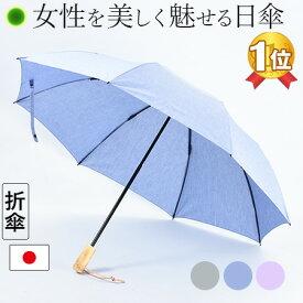 折りたたみ 日傘 レディース 綿 100% コットン 日本製 布製 WAKAO ワカオ ブランド 人気 無地 折り畳み傘 晴雨兼用 シンプル UVカット 紫外線 対策 女性 誕生日 プレゼント お母さん ギフト 義母 義理の母親 贈り物 グレー ブルー ラベンダー