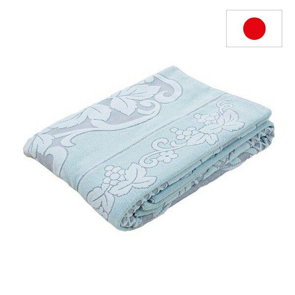 今治産 タオルケット ジャガード織り サイズ 140×190cm 日本製 (ブルー)