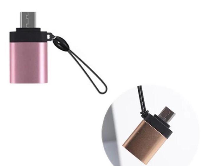 3個セット 変換アダプタ OTG USB to micro USB ストラップ付 アルミニウム製