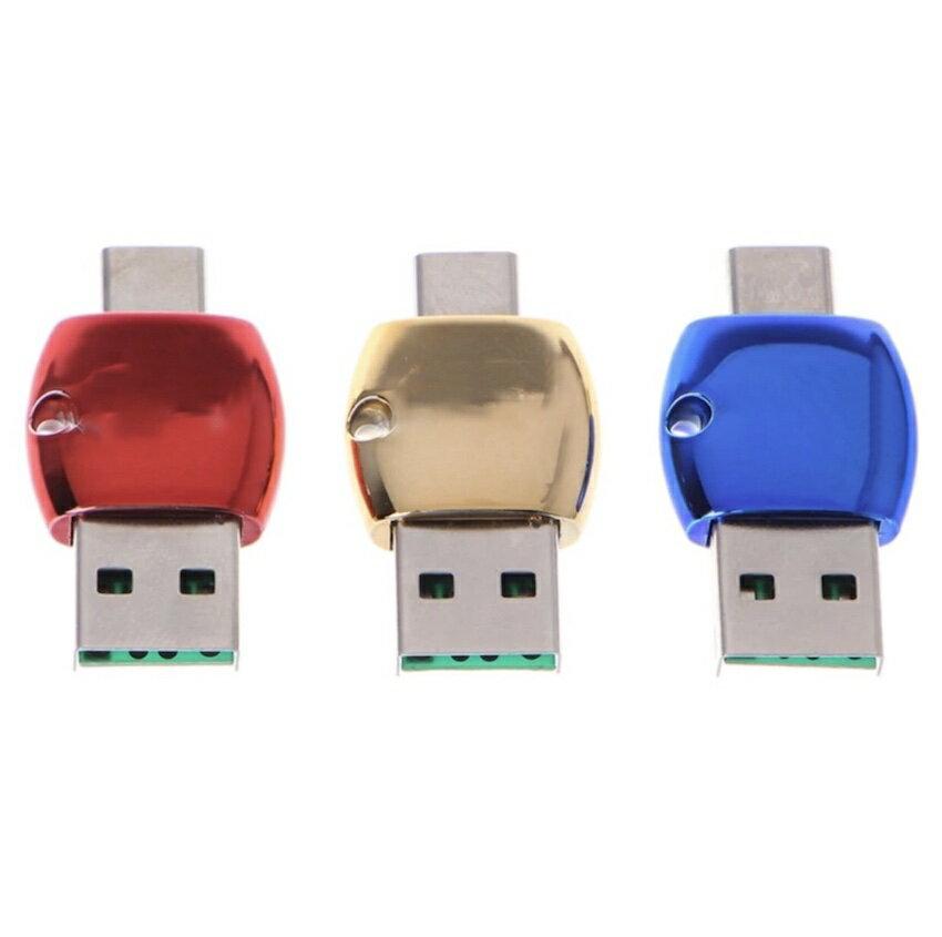 USB Type-C メモリ カードリーダー メタリック ストラップ付 TF android Xperia Huawei タブレット 送料無料