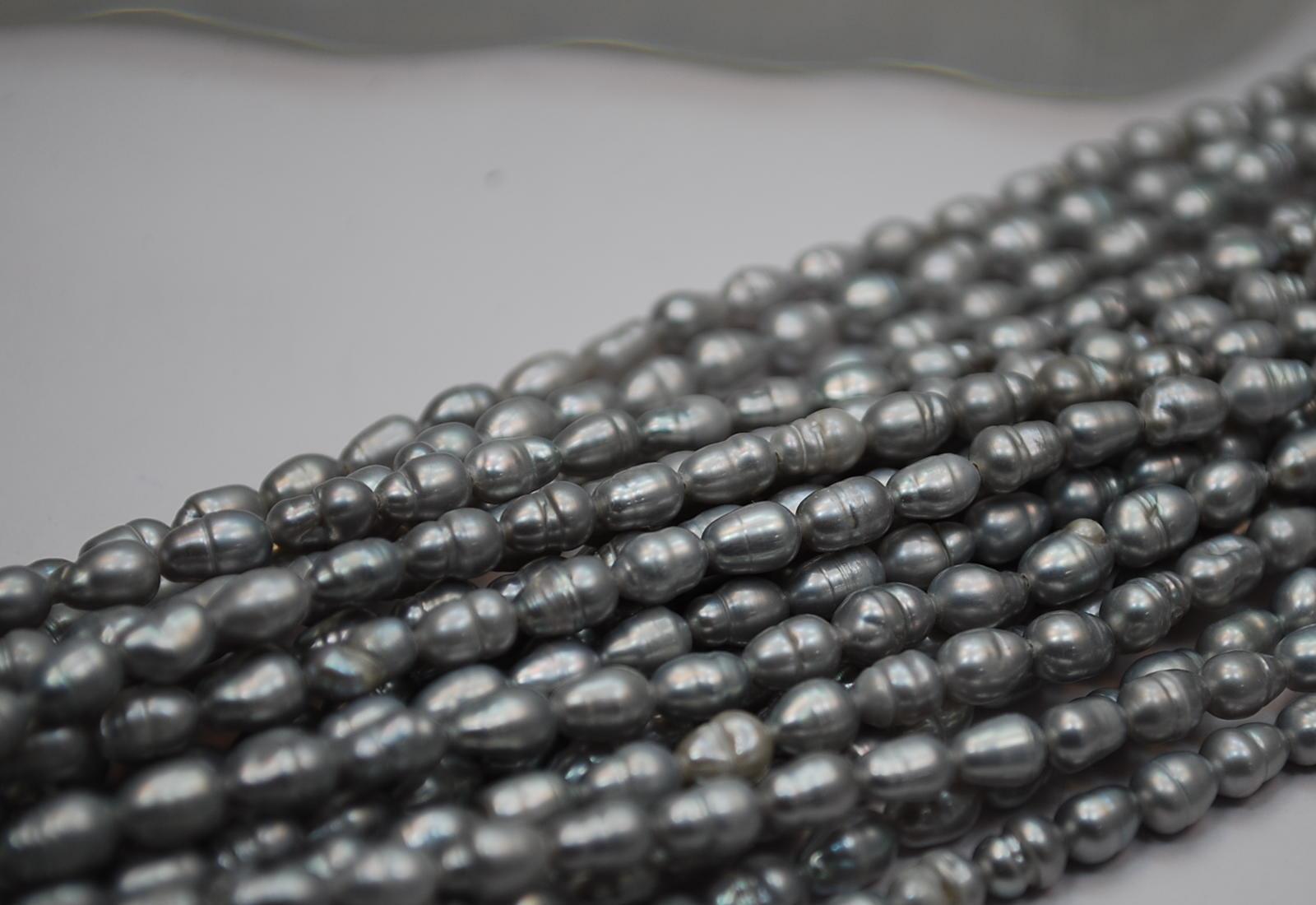 淡水 真珠  4mm  ライス  ネックレス   グレー     532P15May16   ポイント5倍
