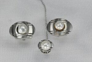 メッキ ブローチ ネクタイピン カフス セット アコヤ真珠 6.5−7mm 白蝶 芥子  淡水 ボタン 6.5−8mm