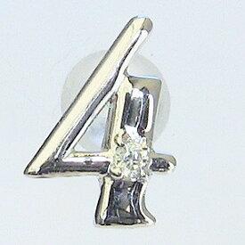 ダイヤモンド 4月誕生石 ピンブローチ K18WG ホワイトゴールド ラッキーナンバー4 ピンズ タイニーピン ラペルピン 送料無料