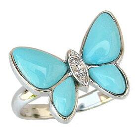 ターコイズリング トルコ石リング ダイヤモンド 0.02ct 蝶モチーフ ホワイトゴールド 指輪 バタフライ