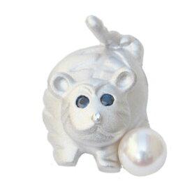 寅 ブローチ 真珠パール 6月誕生石 ピンズ あこや本真珠 6-6.5mm サファイア 虎 タイニーピン タイガー シルバー SV