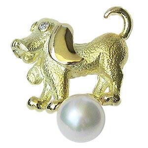 ラペルピン 真珠 パール ブローチ あこや本真珠 K18 ゴールド ピンブローチ タイニーピン 6mm ドッグ 犬 男女兼用 ユニセックス 送料無料 入学祝い 就職祝い アクセサリー ジュエリー 人気 お