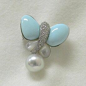 蝶々 ターコイズ トルコ石 ダイヤモンド アコヤ真珠 パール 白蝶貝 ブローチ 兼用 ペンダント バタフライ K18ホワイトゴールド