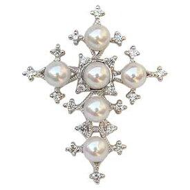 母の日 ブローチ 真珠 パール クロス 十字架 あこや本真珠 キュービックジルコニア 送料無料 フォーマル アンティーク調 アクセサリー ジュエリー 人気 おすすめ カジュアル トレンド プレゼント ギフト 記念日