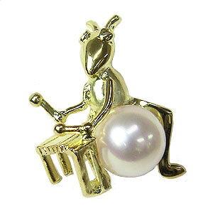 パール ブローチ パールブローチ フォーマル ブローチ パール 真珠 ピンブローチ ラペルピン あこや本真珠 K18 ゴールド きりぎりす キリギリス 打楽器 ダイヤモンド 男女兼用 ユニセックス