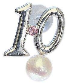 ブローチ 真珠 パール ラッキーナンバー10 タイニーピン ホワイトゴールド ベビーパール 10月誕生石 ピンクトルマリン 送料無料