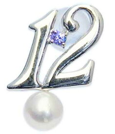 真珠 パール ブローチ 真珠 パール ラッキーナンバー12 タイニーピン ホワイトゴールド ベビーパール 12月誕生石 タンザナイト 送料無料