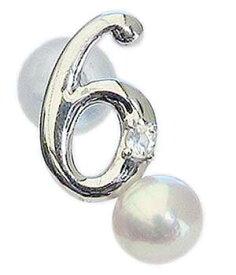 真珠 パール ブローチ ラッキーナンバー6 タイニーピン ホワイトゴールド ベビーパール 6月誕生石 ロイヤルブルームーンストーン 送料無料
