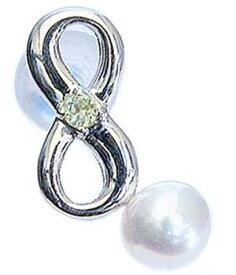 真珠 パール ブローチ 真珠 パール ラッキーナンバー8 タイニーピン ホワイトゴールド ベビーパール 8月誕生石 ペリドット 送料無料
