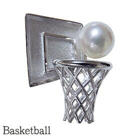 【10%OFFクーポン発行中!】バスケットボール バスケットピンズ メンズブローチ パール 真珠 バスケットラペルピン あこや本真珠 6mm 男性用 ピンブローチ Basketball シルバー SV バスケットボールグッズ 送料無料 誕生日 記念日 デー アクセサリー おすすめ