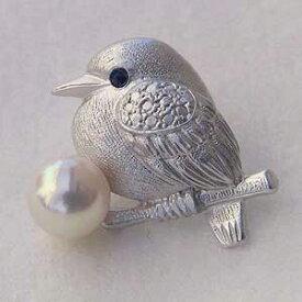 ブローチ レディース サファイア パール 小鳥 ピンズ あこや本真珠 アコヤ6-6.5mm ピンブローチ ラペルピン バード 送料無料