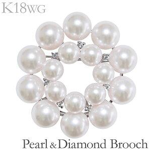 パール ブローチ パールブローチ フォーマル ブローチ パール 花 複数珠 マルチプル ペンダント兼用 あこや本真珠 0.07ct ダイヤモンド K18ホワイトゴールド レディース アンティーク調 人気