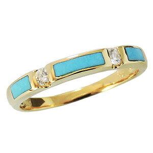 ターコイズ リング トルコ石 リング 指輪 ターコイズリング トルコ石リング スリーピングビューティーターコイズ ダイヤモンド 0.10ct ゴールド K18 18金 送料無料 カジュアル