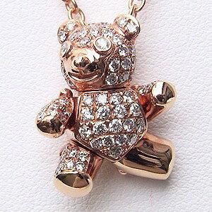 ダイヤモンド ペンダントネックレス K18PG ピンクゴールド チェーン付 ベア 送料無料