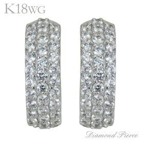 ピアス パヴェ 中折れフープタイプ ダイヤモンド 68石 K18ホワイトゴールド レディース