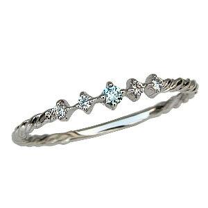 ブルーダイヤモンドリング ダイヤモンド マリッジリング K18 ホワイトゴールド 結婚指輪【RCP】