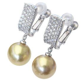 真珠 パール イヤリング ゴールド系 南洋白蝶真珠 ゴールデンパール 10mm K18WG ホワイトゴールド 18金 ダイヤモンド 送料無料